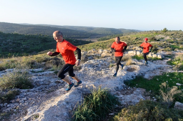 Running a bedrock in the Canada Park near the Jerusalem Mountains