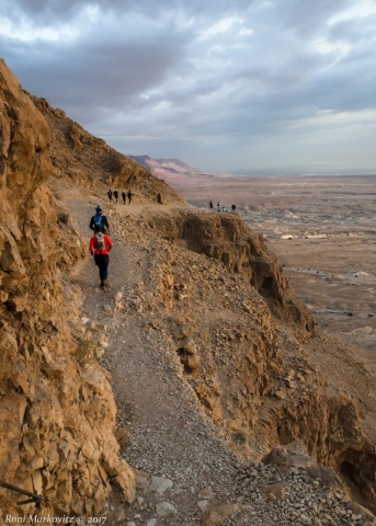 Descending Masada towards the dead sea